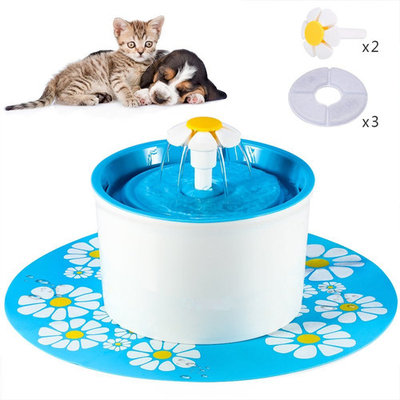 Flower Fountain Cat Water Fountain BPA Free 56 Oz Pet Water Dispenser Automatic Electric Water Bowl With Filter and Silicone Mat for Dogs Cats Birds, Blue