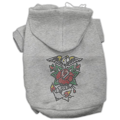 Mirage Pet Products 5427 MDGY Eagle Rose Nailhead Hoodies Grey M 12