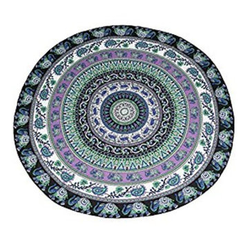 Leegoal(TM) Popular Round Mandala Roundie Beach Throw Tapestry Hippy Hippie Boho Gypsy Chiffon Tablecloth Beach Towel,Green-elephant