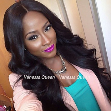 Vanessa Queen Synthetic Lace Front Wig Body Wave 10% Human Hair+90% Heat Resistant Fiber Wig Middle Part Glueless Wigs For Black Women(28