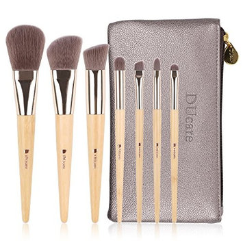 DUcare Makeup Brushes Set Organic Bamboo Cruelty Free, Pack of 7