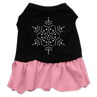 Mirage Pet Products Snowflake Rhinestone 16-Inch Pet Dress, X-Large, Black with Pink