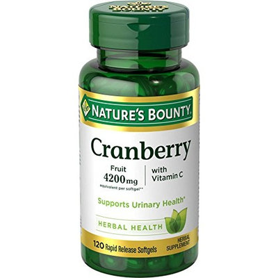 5 Pack Nature's Bounty Cranberry Fruit 4200 mg, Plus Vitamin C Softgels 120 Each