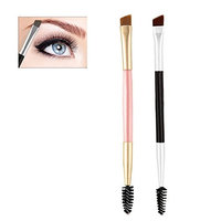 Double Ended Eyebrow Brushes Comb Set Eyebrow Makeup Kit Eyebrow Brush Comb Design Allows for Precision Application of Brow Powders, Waxes and Gels and Evenly Blends Product