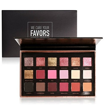 Focallure Beauty 18 Colors Metallic Rose Gold Eyeshadow Palette Dual use for Face and Eyes
