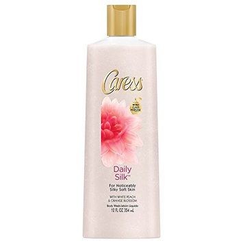 Caress Daily Silk, White Peach & Silky Orange Blossom, Silkening Body Wash, 12 Oz (Pack of 2)