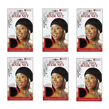 6 PACKS OF Donna Collection Real Thick Hair Net (Black) #22041