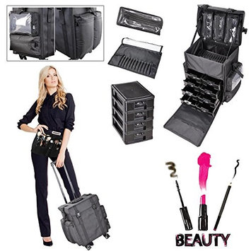 GC Global Direct XL Cosmetic Rolling Storage Case Makeup Trolley Oxford/PU Bag