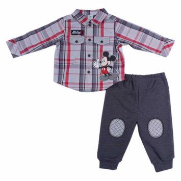 Disney Mickey Mouse Infant Boys 2-Piece Gray Plaid Woven Shirt & Pant Set 3-6m
