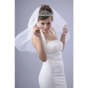 Bridal Veil Diamond (Off) White 1 Tier Shoulder Length Edge In Beads,Pearl Ovals