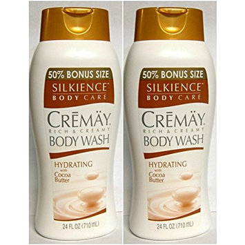 2 - CREMAY SILKIENCE RICH & CREAMY BODY WASH HYDRATING COCOA BUTTER 24 Oz