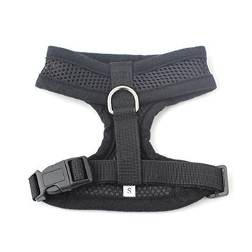 Ids Black Soft Padded Dog Cat Pet Mesh Harness Safety Strap Vest - Small