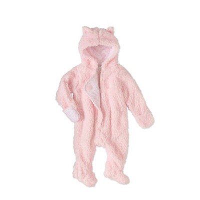 Quiltex Baby Girls' Sherpa Pram Suit - pink, 3 - 6 months