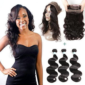 Body Wave Human Hair Bundles With 360 Lace Frontal Closure Brazilian Virgin Hair 3Bundles With 360 Frontal Unprocessed Hair Extensions Natural Color (16 18 20 with 14inch)