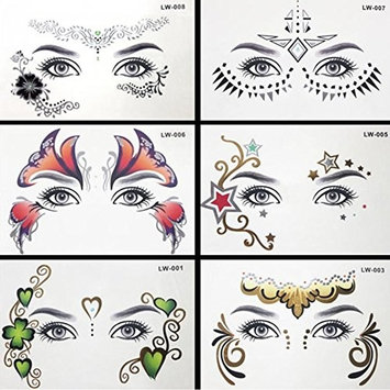 Auch 6 Sheets Face Temporary Tattoos, Temporary Tattoos Stickers for Women & Girls, Face Art Decoration, Sexy Body Tattoo Sticker for Women