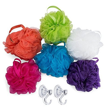 Larkin Loofahs with Shower Hooks (6-Pack) Large Bath and Shower Sponges | Face, Body, Back Scrubbers | Soft, Mesh Scrub for Men, Women, Kids | Gentle Exfoliation