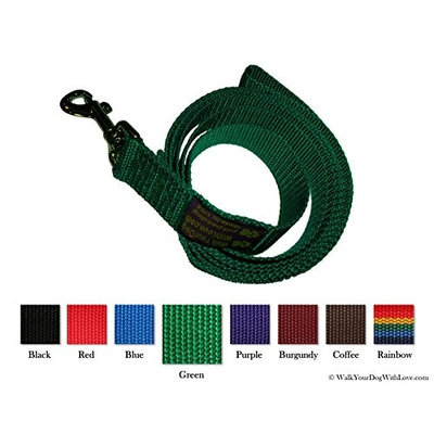 Walk Your Dog With Love Unique Wide Handled Dog Lead Leashes, Original Edition, 4 Versatile Styles, Kelly Green