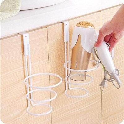 LIVDAT Hair Blow Dryer Holder Shelf Rack Stand Bathroom Washroom Wall Mount Spring Style Accessories Storage Organizer Aluminum Set