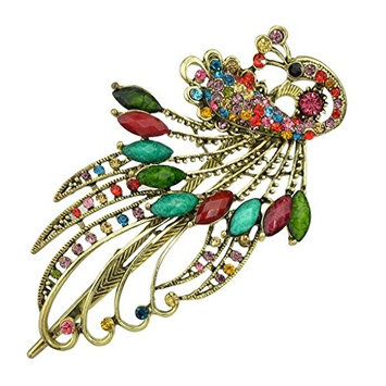 Fashion Vintage Jewelry Crystal Peacock Hair Clips Hairpins (Colorful)