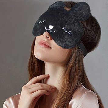 3D Cute Sleeping Rabbit Eye Mask with Reusable Gel Pad, Cold Hot Spa Therapy for Dry Eye and Puffy Eyes, Relaxing Your Eye (Free Ear Plugs)