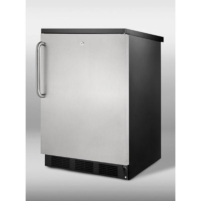 SUMMIT Commercial undercounter refrigerator in black with lock, stainless steel door, TB handle