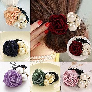 Bluelans Hair Accessories, 6pcs Women Satin Ribbon Rose Flower Pearls Ponytail Hair band