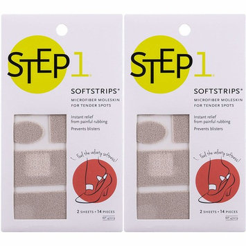 Step 1 Soft Strips Microfiber Moleskin 14 Pieces, Provides Instant Relief from Painful Rubbing, Trim to Custom Size, Prevent Blisters and Reduce Friction, 2 Count