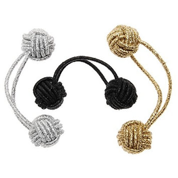 L. Erickson Knotted Bauble Ponytail Holder 3-Pack - Cool Combo