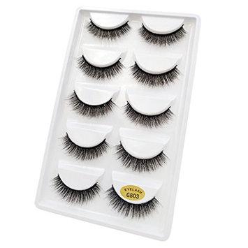 Homyl 5 Pairs Lashes Handmade False Eyelashes Set Professional Fake Eyelashes Pack,Eyes Lashes,Very Natural Soft and Comfortable,6 Styles - Black, G803