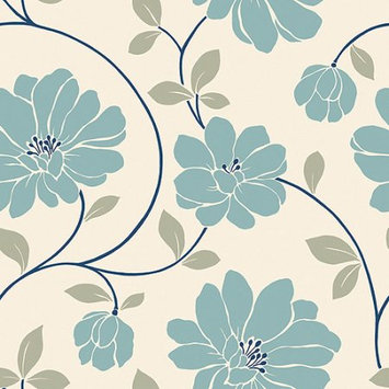 Blue Mountain Wallcoverings Blue Mountain Mega Flowers Wallcovering, White/Blue/Gray