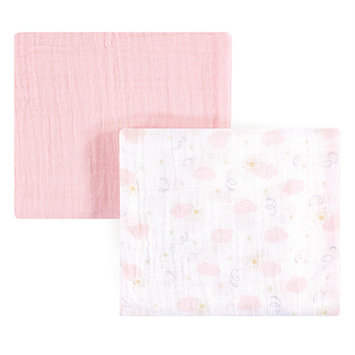 Yoga Sprout Baby Boy and Girl Muslin Swaddle Blanket, 2-Pack, Pink Sky