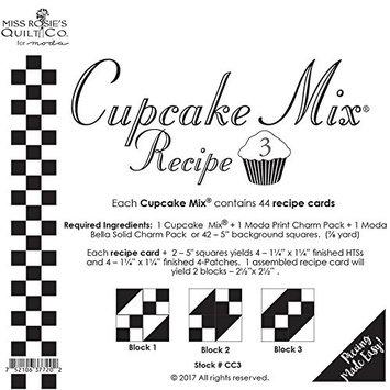 Moda Cupcake Mix Recipe #3 ~44 Recipe Cards + 2 Charm Packs = 44~ 2 1/2' Blocks