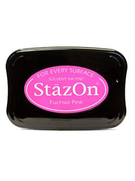 Tsukineko StazOn Solvent Ink fuchsia pink, 3.75 in. x 2.625 in, full-size pad [pack of 2]