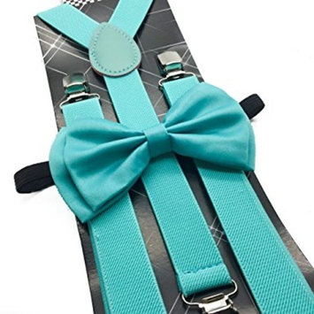 Awesome Teal Mint Blue Wedding Accessories Adjustable Bow Tie & Suspenders