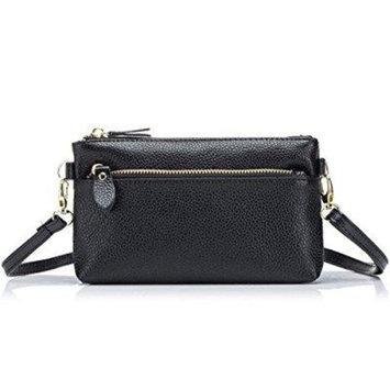 aladin small leather crossbody bag / wristlet purse 2 in 1 handbag for women teen girls (black)