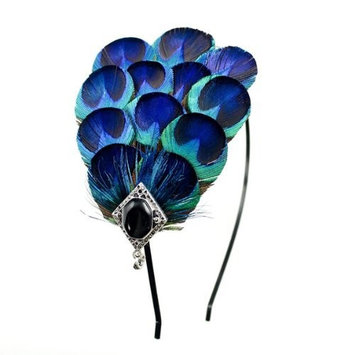 3-in-1 Peacock Feather Removable Adjustable Hairband Hair Clip & Necklace Kit