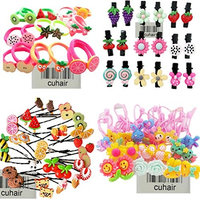 cuhair 20pcs Mix Cute Fruit Flower Cartoon Elastic Hair Tie Ponytail Holder Hair Accessories For Baby Kids Girl