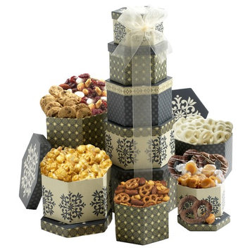 Broadway Basketeers Celebration Gift Tower with Sweets, Nuts and Chocolates