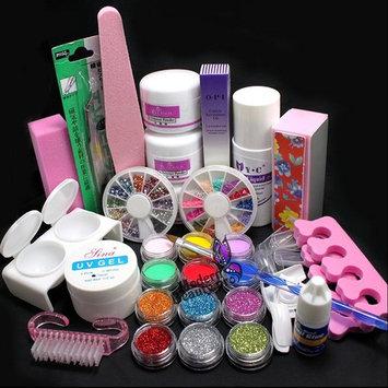 21 in 1 Pro Nail Art Uv Gel Kit Brush Buffer Tool Nail Tips Glue Acrylic Powder Glitter Buffer Block Sanding File Set #189