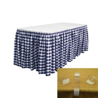LA Linen SKTcheck30x29-15Lclips-NavyK72 Oversized Checkered Table Skirt with 15 L-Clips White & Navy - 30 ft. x 29 in.