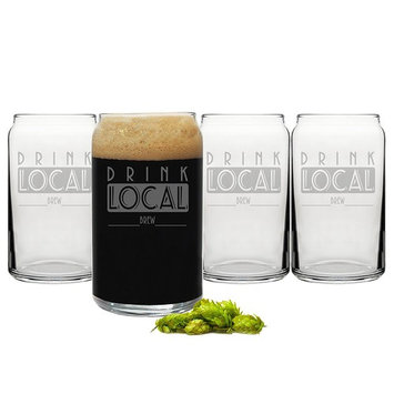 Cathy's Concepts Drink Local Craft Beer Can Glasses, Clear