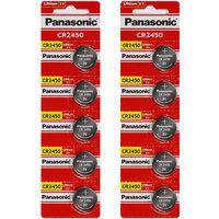 Panasonic CR2450 3 Volt Lithium Coin Cell Battery - 10 Batteries