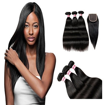 Fabeauty Brazilian Straight 3 Bundles with Lace Closure Free Part 4x4 Virgin 7a Unprocessed Human Hair Wefts 100% Hair Weave Natural Color(20 22 24+18inch)