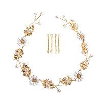 Feyarl Handmade Daisy Rustic Fashion Headband Rhinestone Crystal Headband for Wedding Bridal Prom Party (G