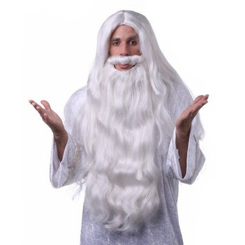 WHITE WIZARD BEARD HAIR SYNTHETIC WIG by West Bay