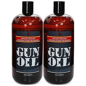 Gun Oil Premium Silicone Based Personal Lube Lubricant Fortified with Special Botanicals Safe for Toys. (+ Free Lubricant) : Net Wt 32 Oz (Pack of 2)