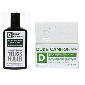 Duke Cannon Big American Brick of Soap And Hair Wash Combo - Smells Like Productivity Bar Soap And 2 In 1 Shampoo + Conditioner Tea Tree Formula