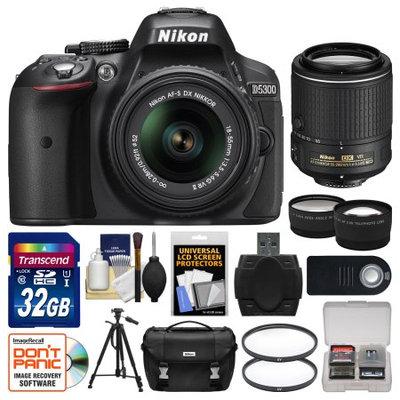 Nikon D5300 Digital SLR Camera & 18-55mm VR DX II AF-S Lens (Black) - Factory Refurbished with 55-200mm VR Zoom Lens + 32GB Card + Case + Tripod + Tele/Wide Lens Kit