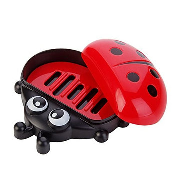 Faber3 Soap Dish Colorful Ladybug Soap Box Cute Cartoon Travel Soap Dish Soap Saver Soap Holder Drainer for Shower/Bathroom/Kitchen/Counter Top (Red)