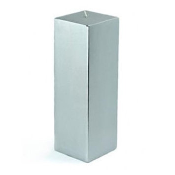 Zest Candle CPZ16212 3 x 9 in. Metallic Silver Square Pillar Candle 12pcsCase Bulk